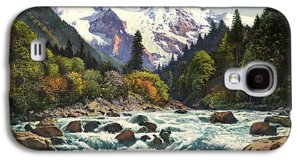 Switzerland Drawings Galaxy S4 Cases - Gorge of the Lutschine River Interlaken Galaxy S4 Case by Celestial Images