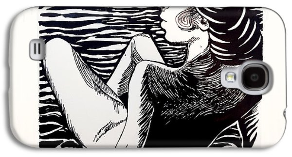 Linocut Paintings Galaxy S4 Cases - Lady Totems. Gracefulness.  Galaxy S4 Case by Lina Tumarkina