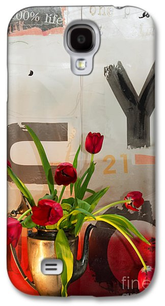 Interior Still Life Mixed Media Galaxy S4 Cases - Graffiti Typography Floral in Red and White Galaxy S4 Case by Anahi DeCanio - ArtyZen Studios