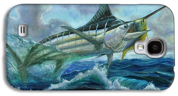 Blue Marlin Galaxy S4 Cases - Grand Blue Marlin Jumping eating Mahi Mahi Galaxy S4 Case by Terry  Fox