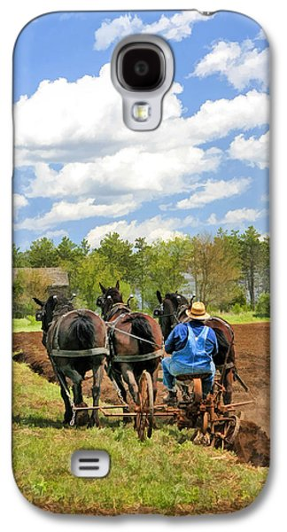 Old Barns Paintings Galaxy S4 Cases - Grandpa and His Team of Horses at Old World Wisconsin Galaxy S4 Case by Christopher Arndt