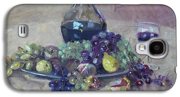 Wine Glass Paintings Galaxy S4 Cases - Grape and Wine Galaxy S4 Case by Ylli Haruni