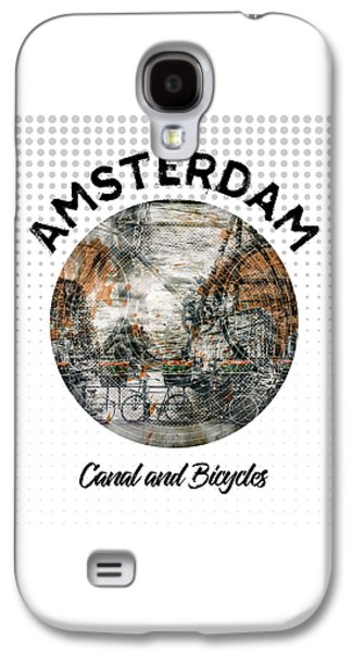 Graphic Art Amsterdam Canal And Bicycles Galaxy S4 Case by Melanie Viola