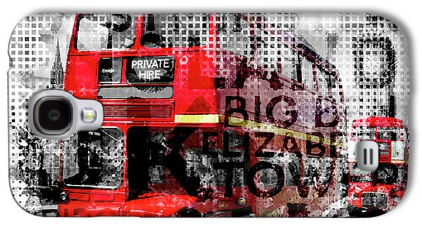 Graphic Art London Westminster Buses - Typography Galaxy S4 Case by Melanie Viola