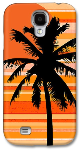 Nature Abstracts Galaxy S4 Cases - Graphic Palm Tree Galaxy S4 Case by Kathy Franklin