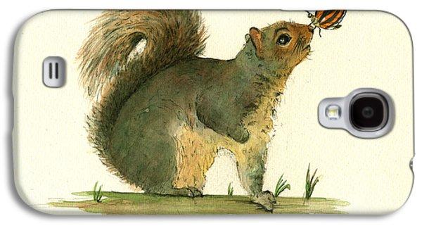 Gray Squirrel Butterfly Galaxy S4 Case by Juan Bosco