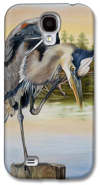 River Jordan Paintings Galaxy S4 Cases - Great Blue Heron On The Jordan River Galaxy S4 Case by Phyllis Beiser