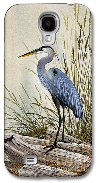 Great Birds Galaxy S4 Cases - Great Blue Heron Shore Galaxy S4 Case by James Williamson