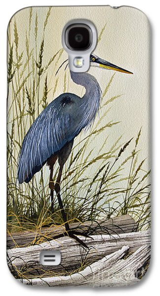 Heron Paintings Galaxy S4 Cases - Great Blue Heron Splendor Galaxy S4 Case by James Williamson