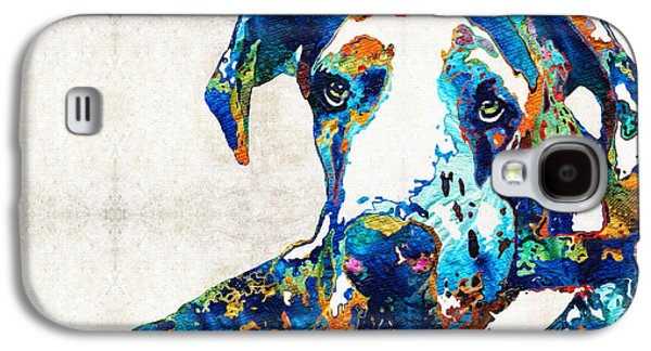 Dog Pop Art Galaxy S4 Cases - Great Dane Art - Stick With Me - By Sharon Cummings Galaxy S4 Case by Sharon Cummings