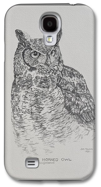 Drawing Galaxy S4 Cases - Great Horned Owl Galaxy S4 Case by Jim Young