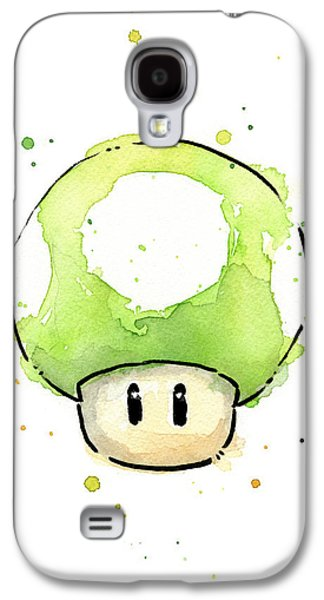 Character Portraits Galaxy S4 Cases - Green 1UP Mushroom Galaxy S4 Case by Olga Shvartsur
