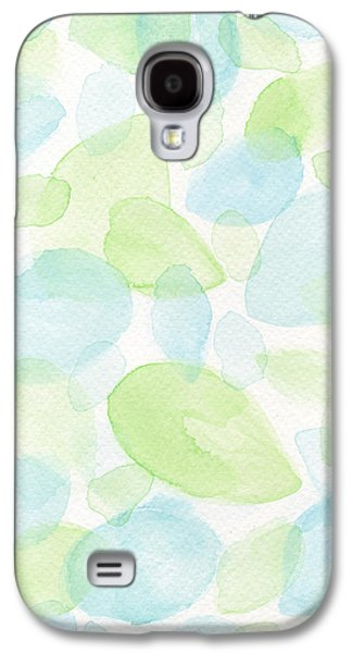 Blue Abstracts Galaxy S4 Cases - Green and Blue Leaves Galaxy S4 Case by Kathleen Wong