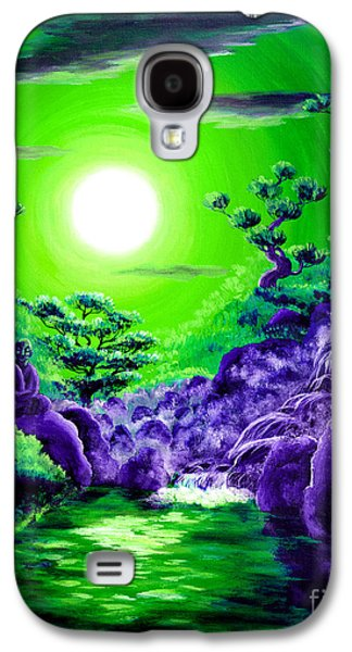 Buddhist Paintings Galaxy S4 Cases - Green Buddha Meditation Galaxy S4 Case by Laura Iverson