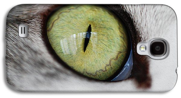 Digital Galaxy S4 Cases - Green Cat eye Galaxy S4 Case by Queso Espinosa