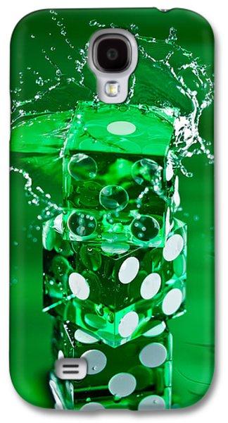 Water Play Galaxy S4 Cases - Green Dice Splash Galaxy S4 Case by Steve Gadomski