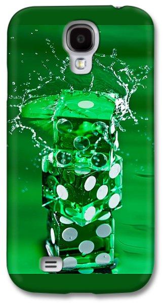 Green Dice Splash Galaxy S4 Case by Steve Gadomski