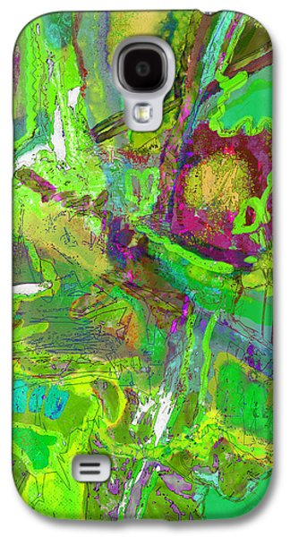 Abstract Digital Mixed Media Galaxy S4 Cases - Green Euphoria Galaxy S4 Case by Karen Gadient