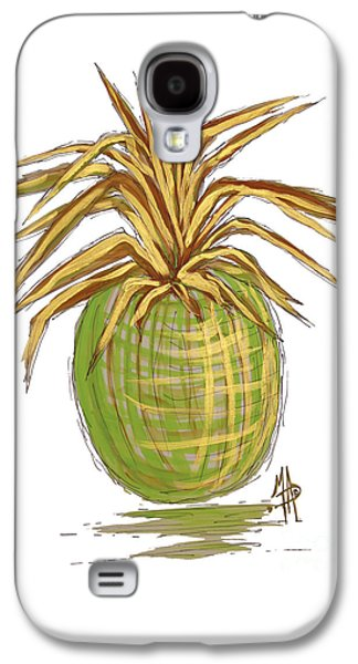 Green Gold Pineapple Painting Illustration Aroon Melane 2015 Collection By Madart Galaxy S4 Case by Megan Duncanson