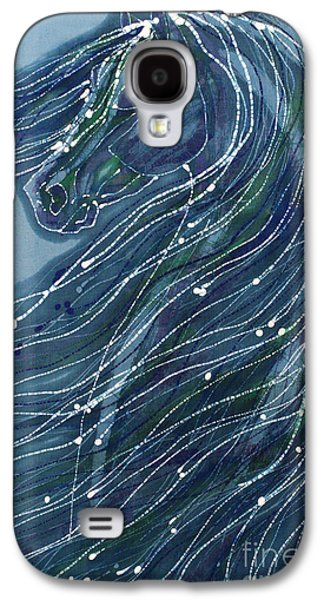 Portraits Tapestries - Textiles Galaxy S4 Cases - Green Horse with Flying Mane Galaxy S4 Case by Carol  Law Conklin