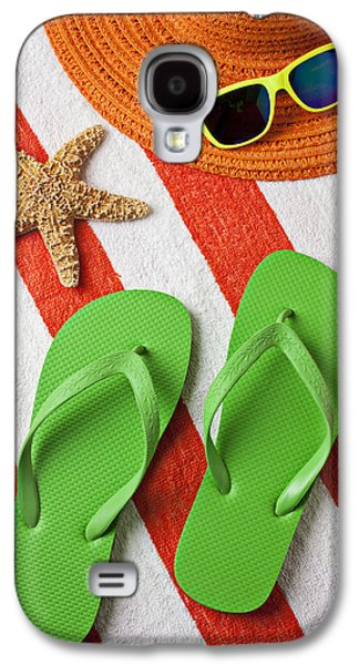 Green Galaxy S4 Cases - Green Sandals On Beach Towel Galaxy S4 Case by Garry Gay