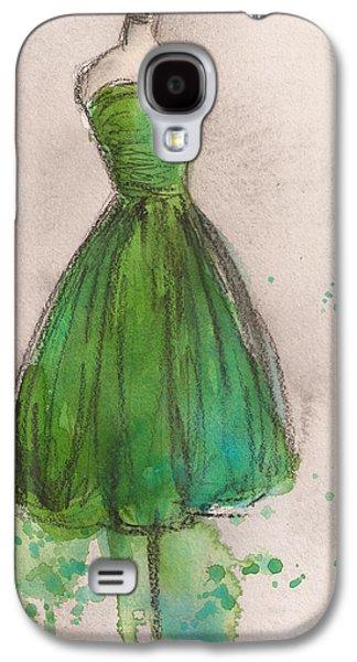 Strapless Dress Galaxy S4 Cases - Green Strapless Dress Galaxy S4 Case by Lauren Maurer