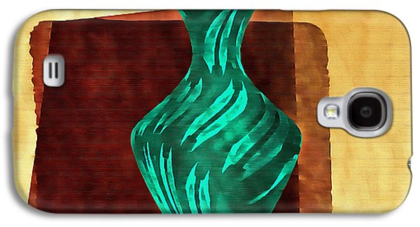 Abstract Digital Mixed Media Galaxy S4 Cases - Green Vase Abstract Galaxy S4 Case by Mario Carini