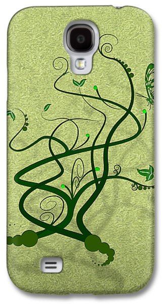 Vines Galaxy S4 Cases - Green Vine and Butterfly Galaxy S4 Case by Svetlana Sewell