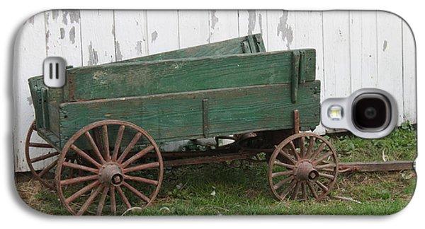 Wooden Wagons Galaxy S4 Cases - Green Wagon Galaxy S4 Case by Lauri Novak