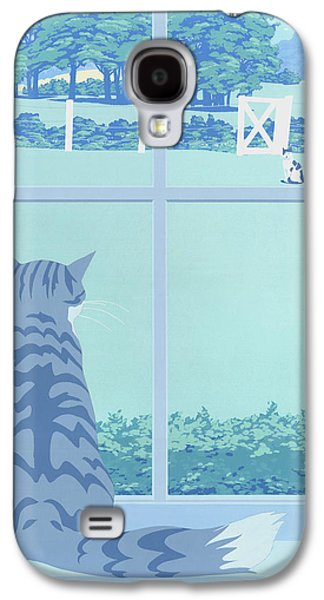 Two Colors Paintings Galaxy S4 Cases - Greeting Card - Cats Staring Galaxy S4 Case by Walt Curlee