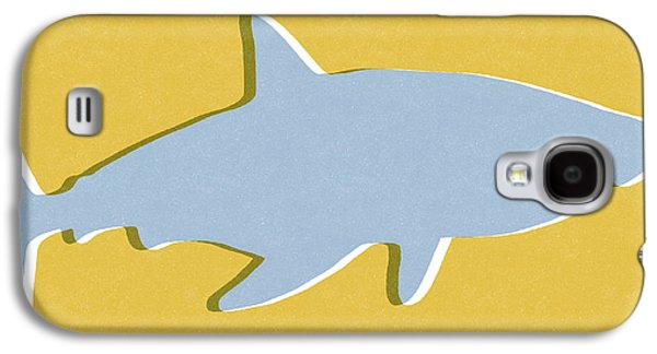 Grey And Yellow Shark Galaxy S4 Case by Linda Woods