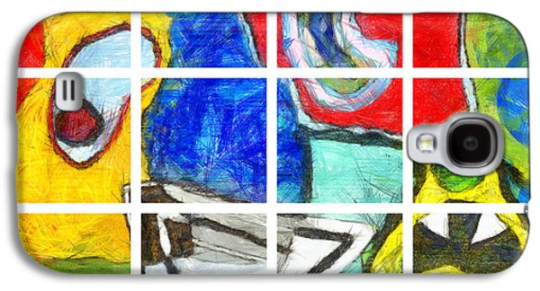 Blue Abstracts Galaxy S4 Cases - Grid Abstract Caffrey Galaxy S4 Case by Edward Fielding