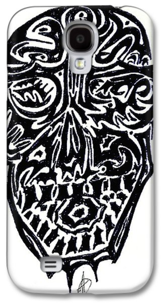 Abstract Digital Drawings Galaxy S4 Cases - Grin Galaxy S4 Case by Ashley Teeter