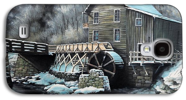 Grist Mill Paintings Galaxy S4 Cases - Grist Mill Galaxy S4 Case by Mike Worthen