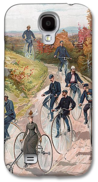 Autumn Landscape Drawings Galaxy S4 Cases - Group riding penny farthing bicycles Galaxy S4 Case by American School