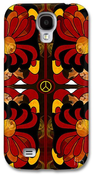 Earth Tones Drawings Galaxy S4 Cases - Growing Peaceful Ideas Abstract Bliss Art by Omashte Galaxy S4 Case by Omaste Witkowski