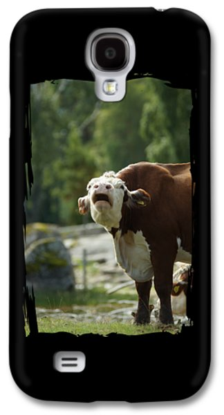 Caws Paintings Galaxy S4 Cases - Grumpy Cow Talk Galaxy S4 Case by The one eyed Raven