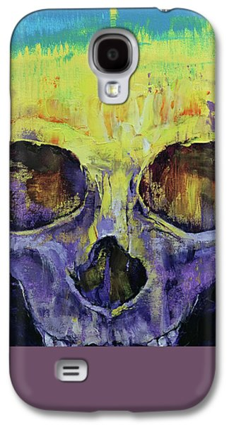 Drips Paintings Galaxy S4 Cases - Grunge Skull Galaxy S4 Case by Michael Creese