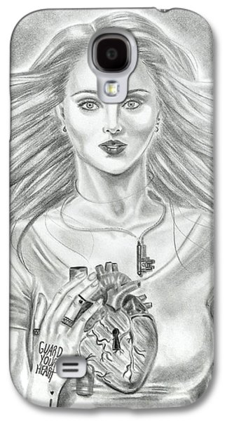 Religious Drawings Galaxy S4 Cases - Guard Your Heart Galaxy S4 Case by Yumiko Reed
