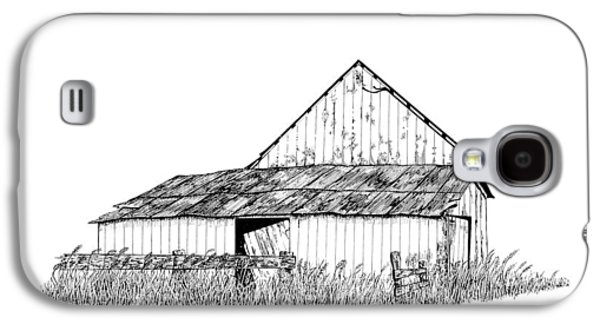 Barn Pen And Ink Galaxy S4 Cases - Haines Barn Galaxy S4 Case by Virginia McLaren