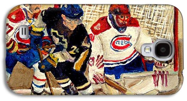 Stanley Cup Paintings Galaxy S4 Cases - Halak Catches The Puck Stanley Cup Playoffs 2010 Galaxy S4 Case by Carole Spandau