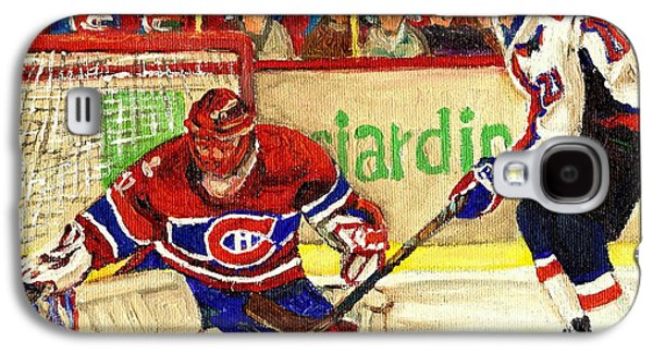 Quebec Streets Paintings Galaxy S4 Cases - Halak Makes Another Save Galaxy S4 Case by Carole Spandau
