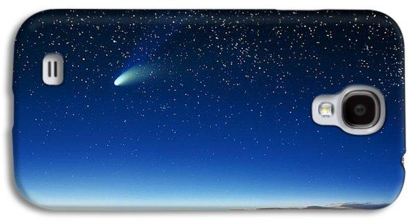 Keck Galaxy S4 Cases - Hale-bopp Comet And Telescope Domes Galaxy S4 Case by David Nunuk