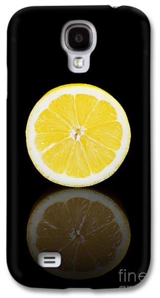 Studio Photographs Galaxy S4 Cases - Half lemon on a black reflective background Galaxy S4 Case by Sara Winter