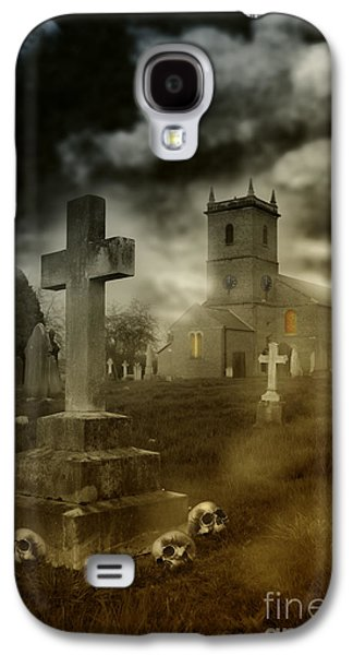 Headstones Galaxy S4 Cases - Halloween Churchyard Galaxy S4 Case by Amanda And Christopher Elwell
