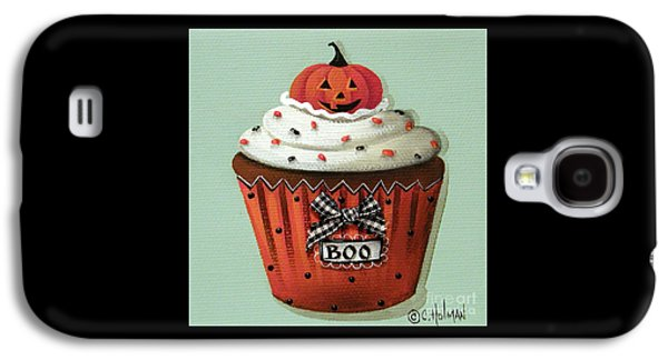 Catherine Galaxy S4 Cases - Halloween Pumpkin Cupcake Galaxy S4 Case by Catherine Holman