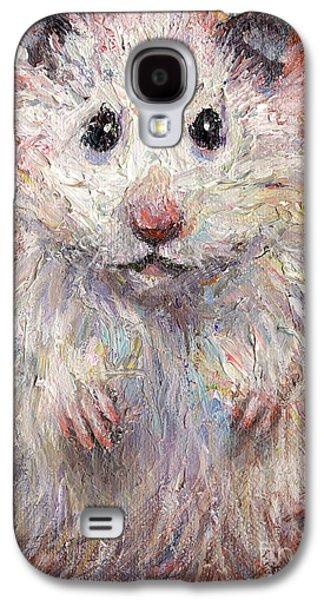 White Drawings Galaxy S4 Cases - Hamster Painting  Galaxy S4 Case by Svetlana Novikova