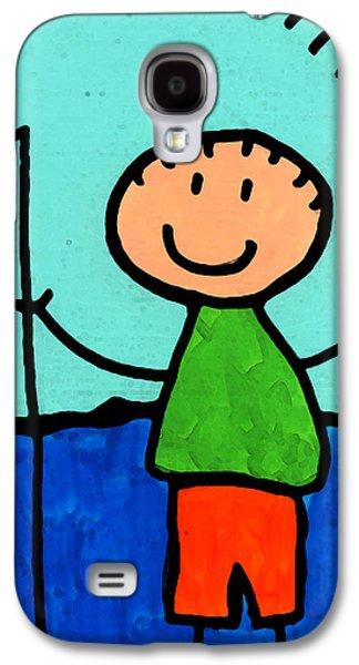 Figures Mixed Media Galaxy S4 Cases - Happi Arte 2 - Boy Fish Art Galaxy S4 Case by Sharon Cummings