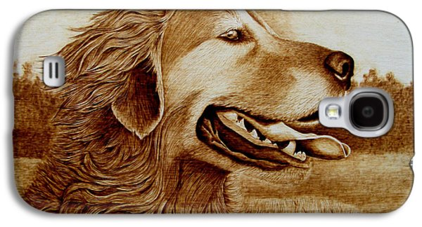 Dogs Pyrography Galaxy S4 Cases - Happiness Galaxy S4 Case by Jo Schwartz
