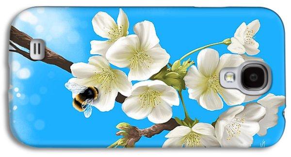 Fantasy Tree Paintings Galaxy S4 Cases - Happy bee Galaxy S4 Case by Veronica Minozzi